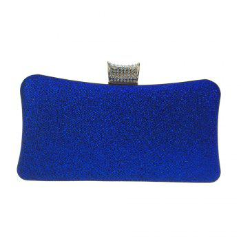 Women Bags Leatherette Evening Bag Buttons Crystal Detailing for Wedding Party - BLUE BLUE