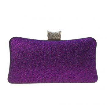 Women Bags Leatherette Evening Bag Buttons Crystal Detailing for Wedding Party - PURPLE PURPLE