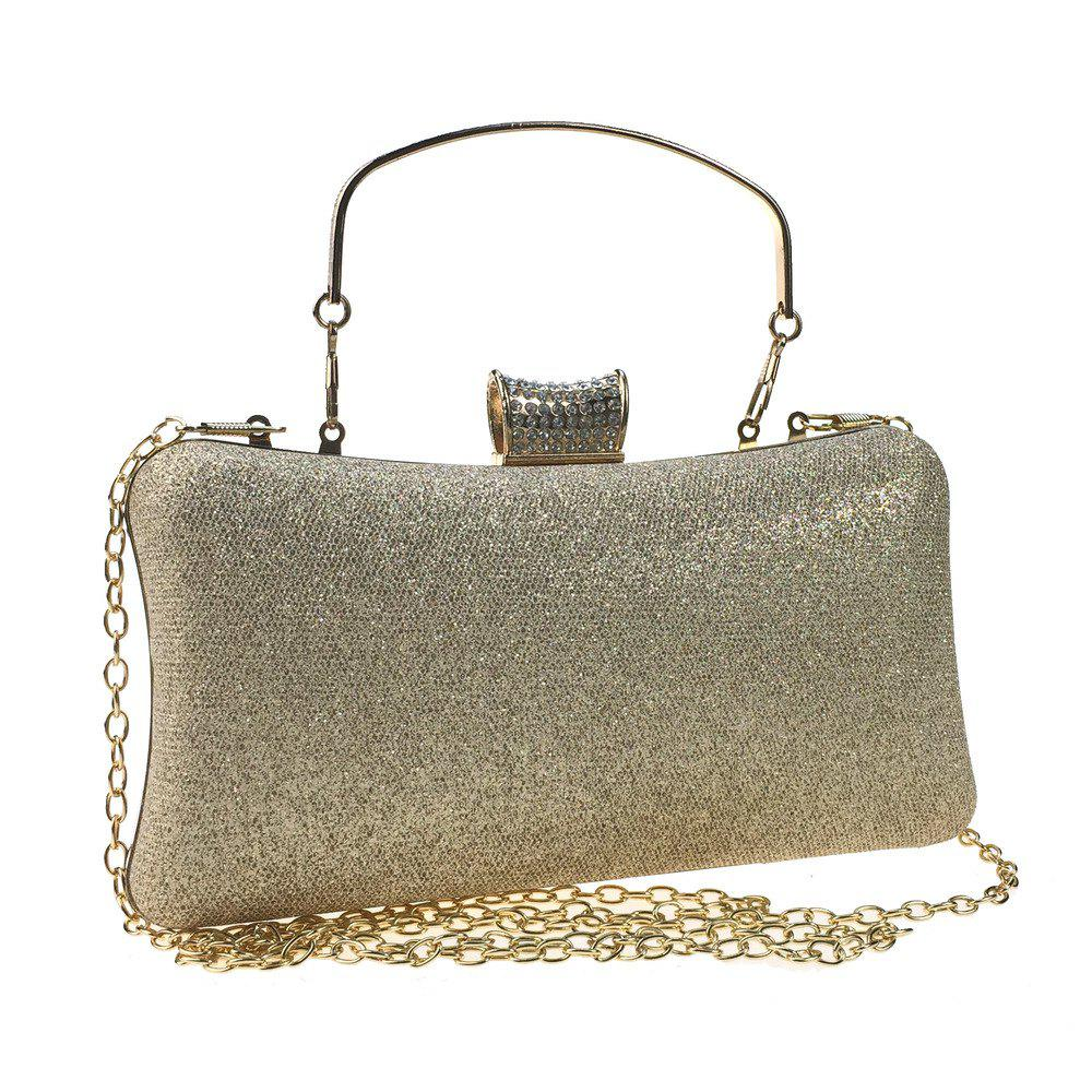 Women Bags Leatherette Evening Bag Buttons Crystal Detailing for Wedding Party - GOLDEN