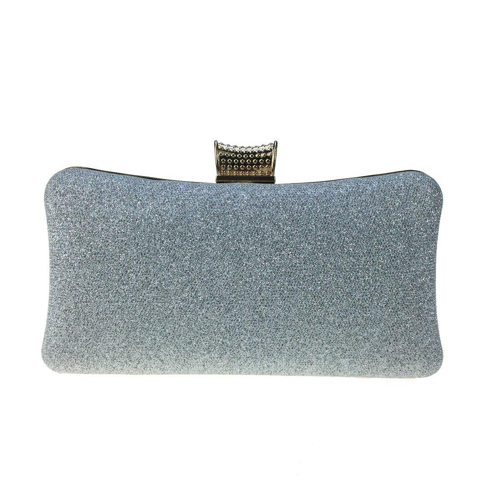 Women Bags Leatherette Evening Bag Buttons Crystal Detailing for Wedding Party - SILVER