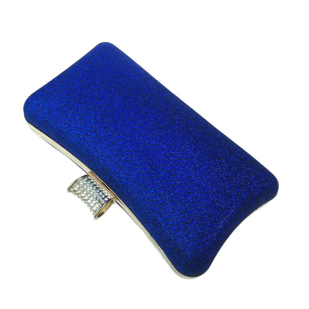 Women Bags Leatherette Evening Bag Buttons Crystal Detailing for Wedding Party - BLUE