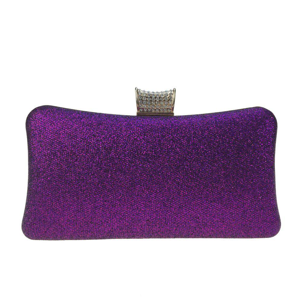 Women Bags Leatherette Evening Bag Buttons Crystal Detailing for Wedding Party - PURPLE