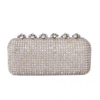 Women Bags Glasses Evening Bag Rhinestone Sparkling Glitter for Wedding Event/Party - SILVER SILVER