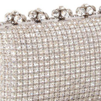Women Bags Glasses Evening Bag Rhinestone Sparkling Glitter for Wedding Event/Party - SILVER