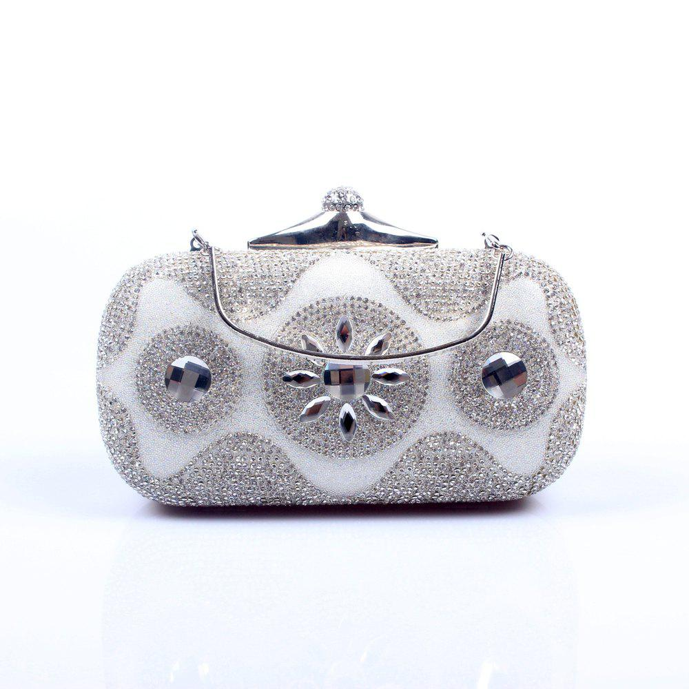 Women Bags Poly Urethane Evening Bag Crystal/ Rhinestone for Wedding Event/Party - SILVER