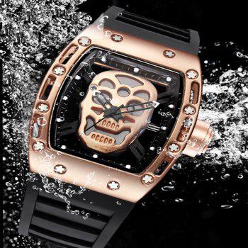 Punk Skull Style Fashion Men  Silicone Hollow Quartz Skull Steampunk Luxury Sports Casual Watche - ROSE GOLD