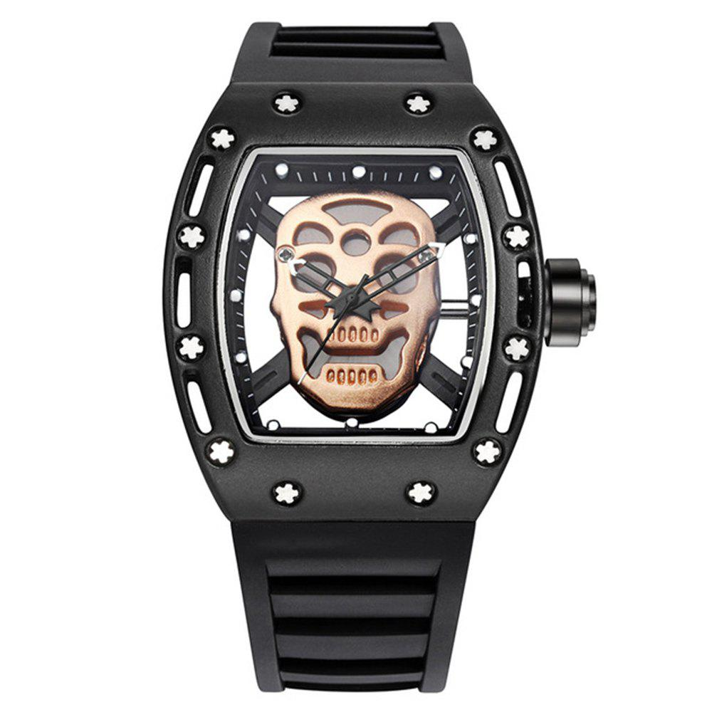 Punk Skull Style Fashion Men  Silicone Hollow Quartz Skull Steampunk Luxury Sports Casual Watche - BLACK GOLD