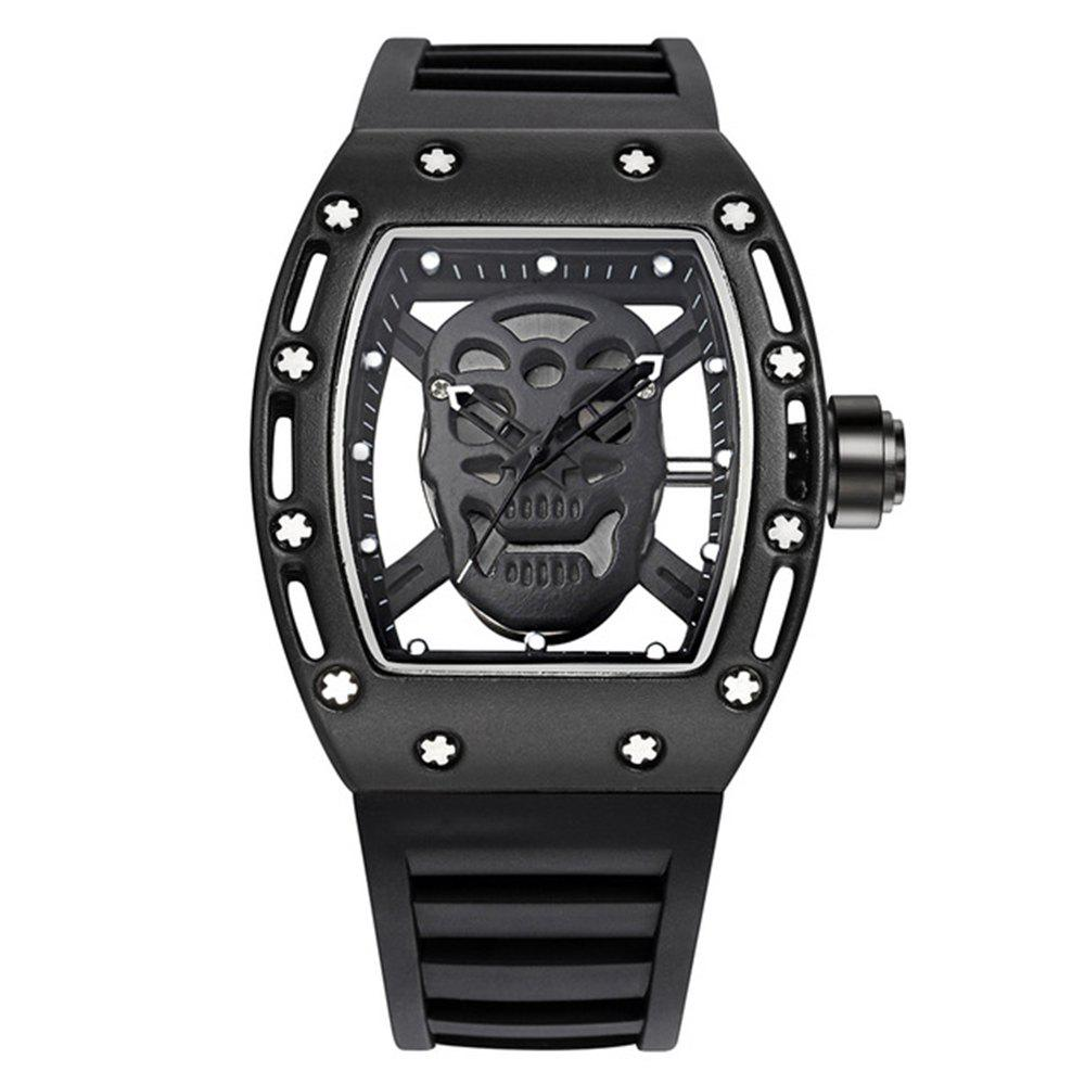 Punk Skull Style Fashion Men  Silicone Hollow Quartz Skull Steampunk Luxury Sports Casual Watche - BLACK
