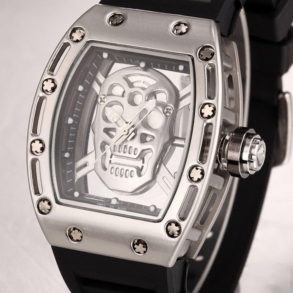 Punk Skull Style Fashion Men  Silicone Hollow Quartz Skull Steampunk Luxury Sports Casual Watche - SILVER