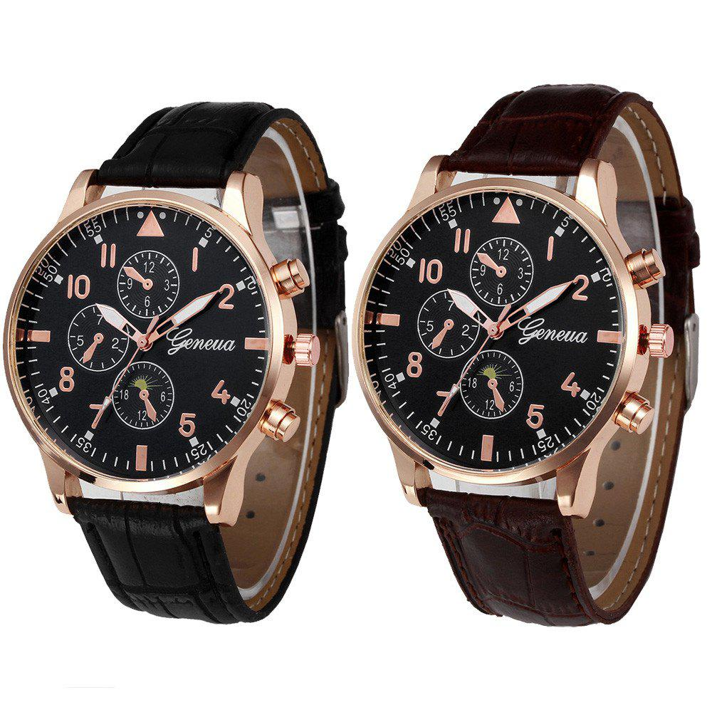 2018 leather design retro leather band luxury men business watch