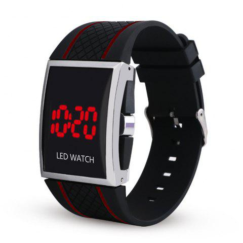LED Digital  Military Outdoor Rectangle Unisex Electronic Casual Men Watch - BLACK/RED