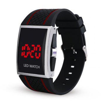 LED Digital  Military Outdoor Rectangle Unisex Electronic Casual Men Watch - BLACK AND RED BLACK/RED