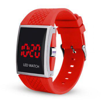 LED Digital  Military Outdoor Rectangle Unisex Electronic Casual Men Watch - RED RED