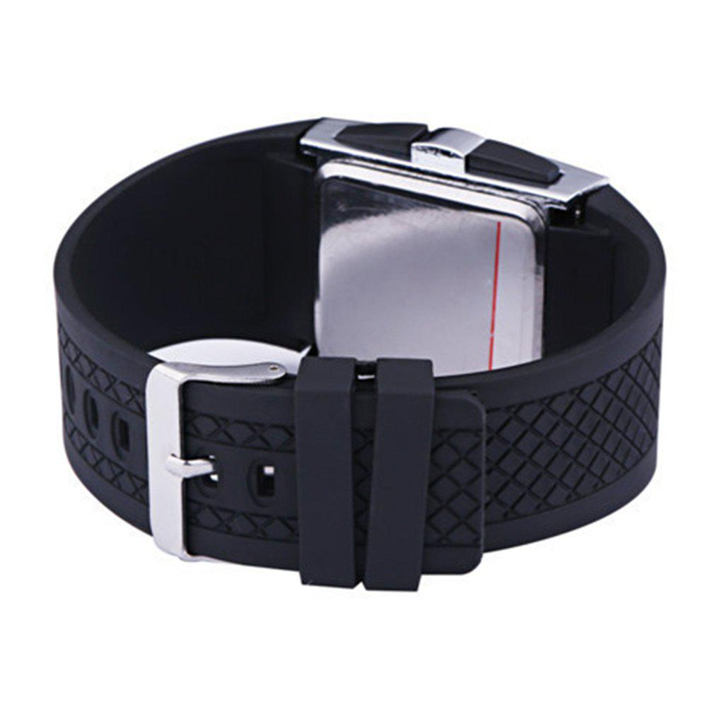 LED Digital  Military Outdoor Rectangle Unisex Electronic Casual Men Watch - BLACK
