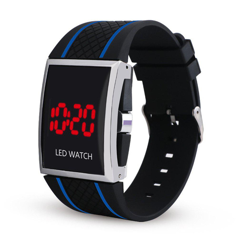 LED Digital  Military Outdoor Rectangle Unisex Electronic Casual Men Watch - BLACK/BLUE