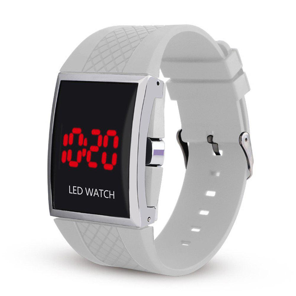 LED Digital  Military Outdoor Rectangle Unisex Electronic Casual Men Watch - WHITE