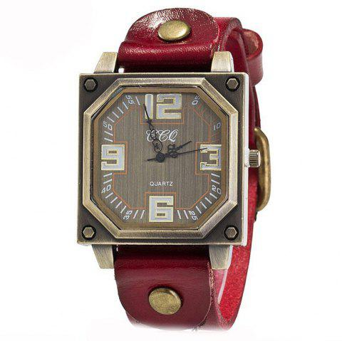 New Men Specially Brand Classic Analog Military Simple Quartz Wrist Watches - RED