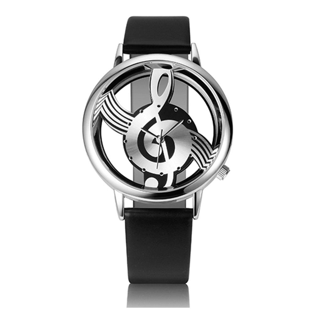 Woman Quartz Analog Hollow Musical Note Style Leather  Fashion Ladies Casual Watch Female - BLACK