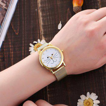Women  Adorable Cat Pattern Personalized Sweet Stylish Watch Accessory - GOLDEN