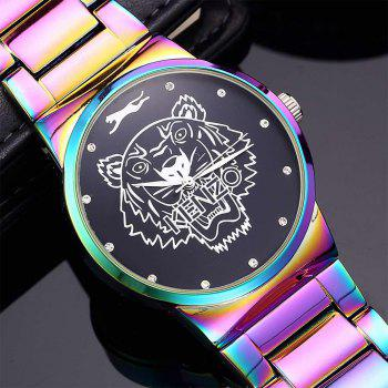 Men Quartz  Colorful Band Personality Stainless Steel Watch - PURPLE
