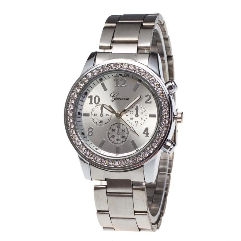 Geneva New Fashion Ladies Diamond Steel Business Watch - SILVER