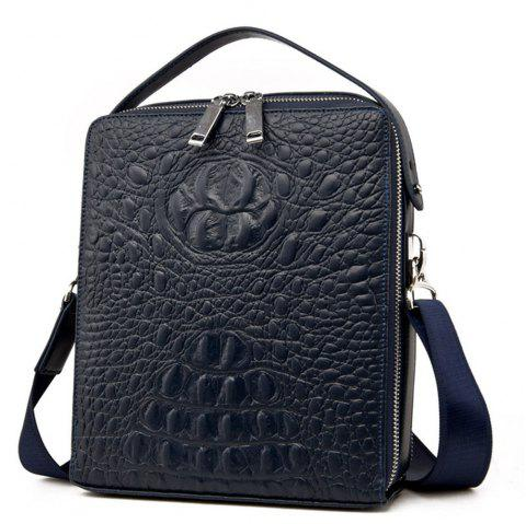 Men'S Crocodile Pattern Shoulder Bag - BLUE