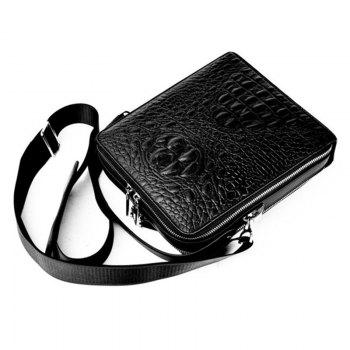 Men'S Crocodile Pattern Shoulder Bag - BLACK