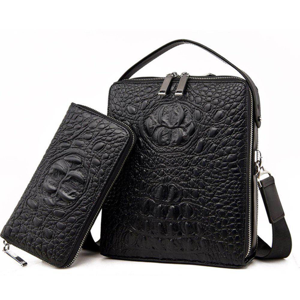 Men'S Crocodile Pattern Shoulder Bag - BLACKS