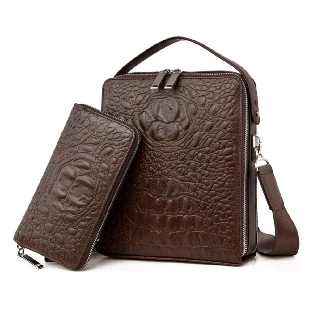 Men'S Crocodile Pattern Shoulder Bag - BROWN D STYLE