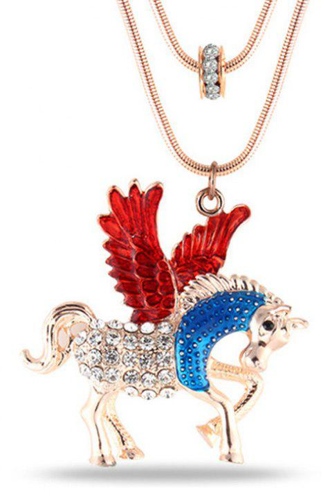 Fashion Jewelry Cartoon Romantic Film Themes Fairy Tales Style Pegasus Horse Animal Crystal Pendant Chokers Necklaces - RED