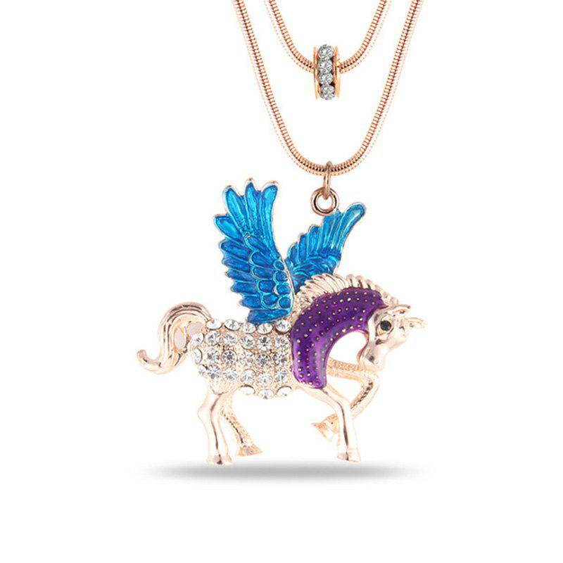 Fashion Jewelry Cartoon Romantic Film Themes Fairy Tales Style Pegasus Horse Animal Crystal Pendant Chokers Necklaces - BLUE