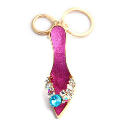 Fashion Jewelry Brand Office Lady High Heeled Shoes Style Keychains Crystal Rhinestal Oil Drop Key Chains - PURPLE