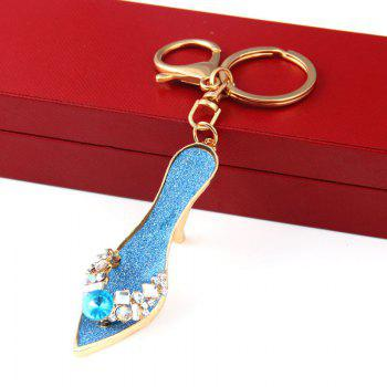 Fashion Jewelry Brand Office Lady High Heeled Shoes Style Keychains Crystal Rhinestal Oil Drop Key Chains -  BLUE