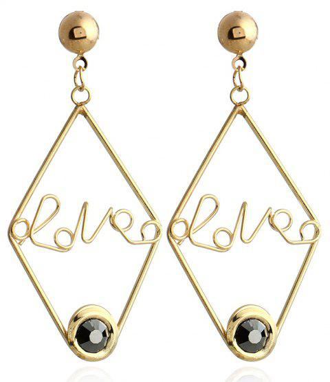 New Design Acrylic Gold Color Letter Earrings Fashion Charm Crystal Earrings Jewelry For Girl Gift - BLACK
