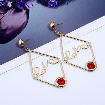 New Design Acrylic Gold Color Letter Earrings Fashion Charm Crystal Earrings Jewelry For Girl Gift - RED