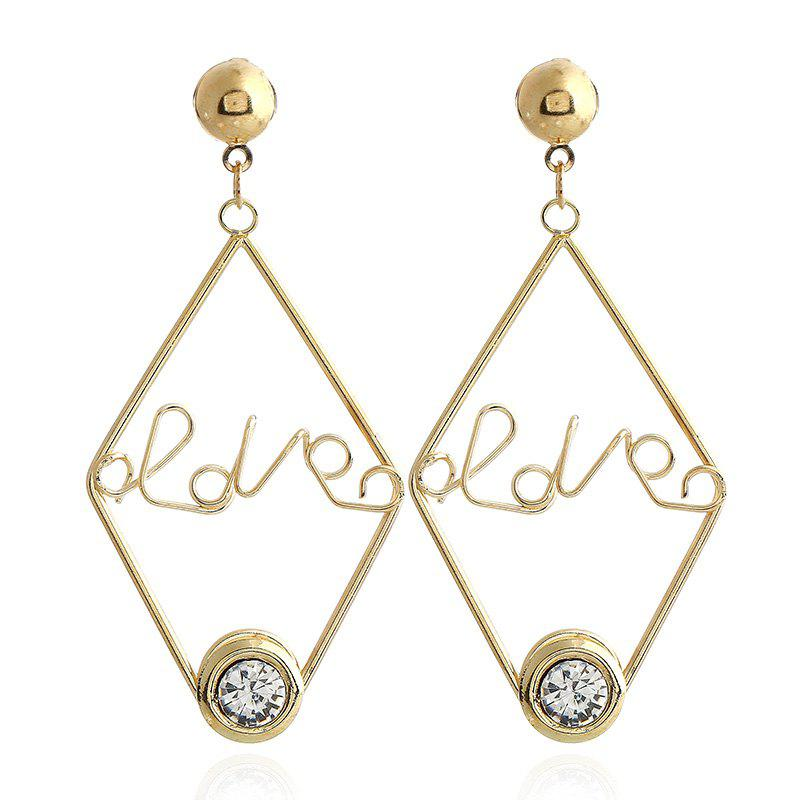 New Design Acrylic Gold Color Letter Earrings Fashion Charm Crystal Earrings Jewelry For Girl Gift - COLOUR