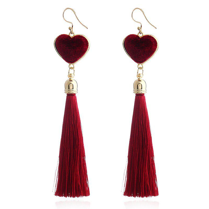Fashion Bohemian Heart Drop Long Tassel Earrings For Women Pendientes Fashion Jewelry Black And Red Colors Female Gifts fashion women travel kit jewelry organizer makeup cosmetic bag