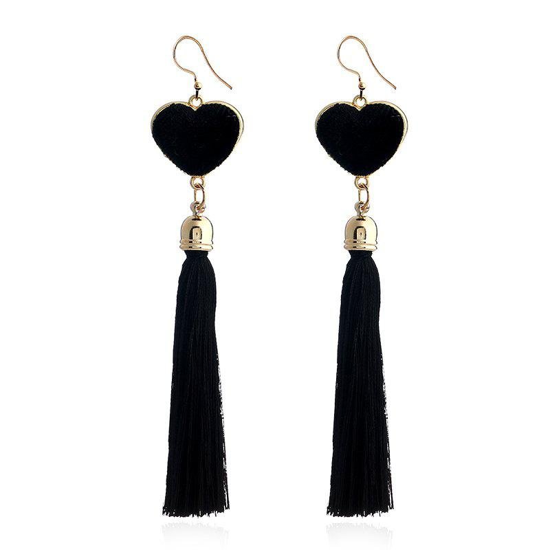 Fashion Bohemian Heart Drop Long Tassel Earrings For Women Pendientes Fashion Jewelry Black And Red Colors Female Gifts - BLACK