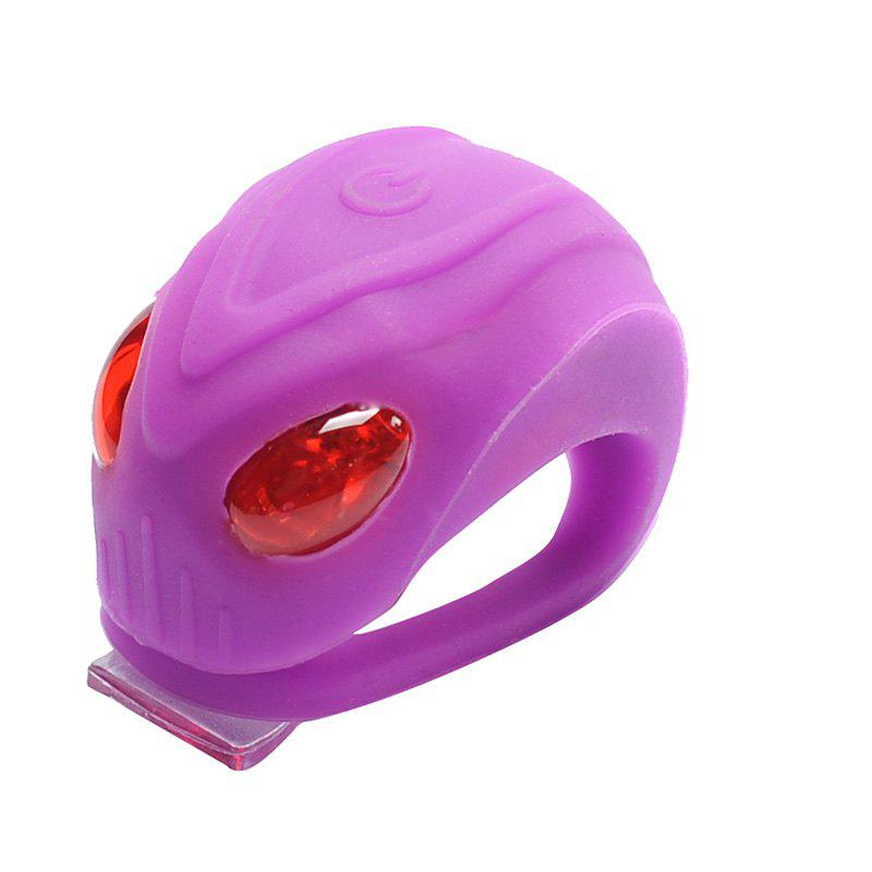 LEADBIKE Mini Flash Bicycle Taillight 3 Mode Silicone Waterproof Bike Rear Warning Light with Two Bright Red LED - PURPLE