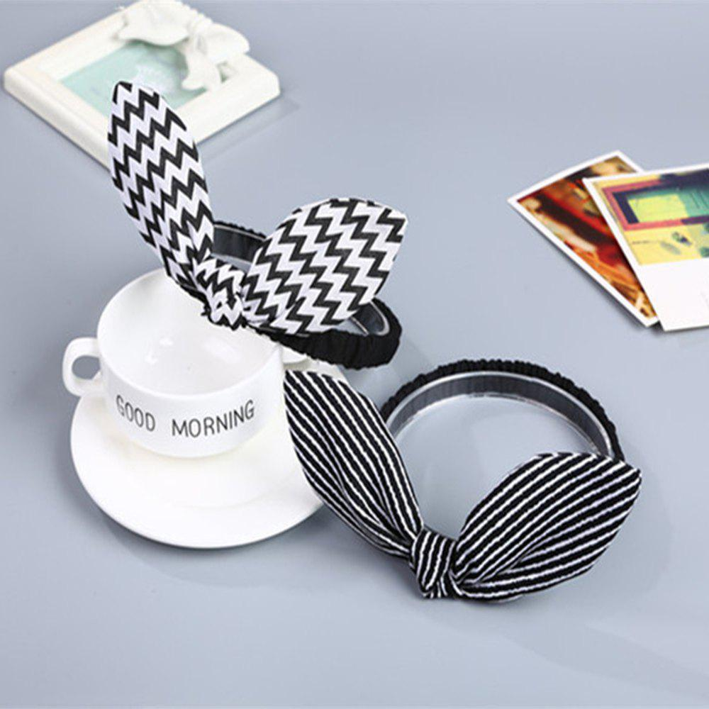 Wavy Striped Bunny Ears for Children Hair Band - BLACK