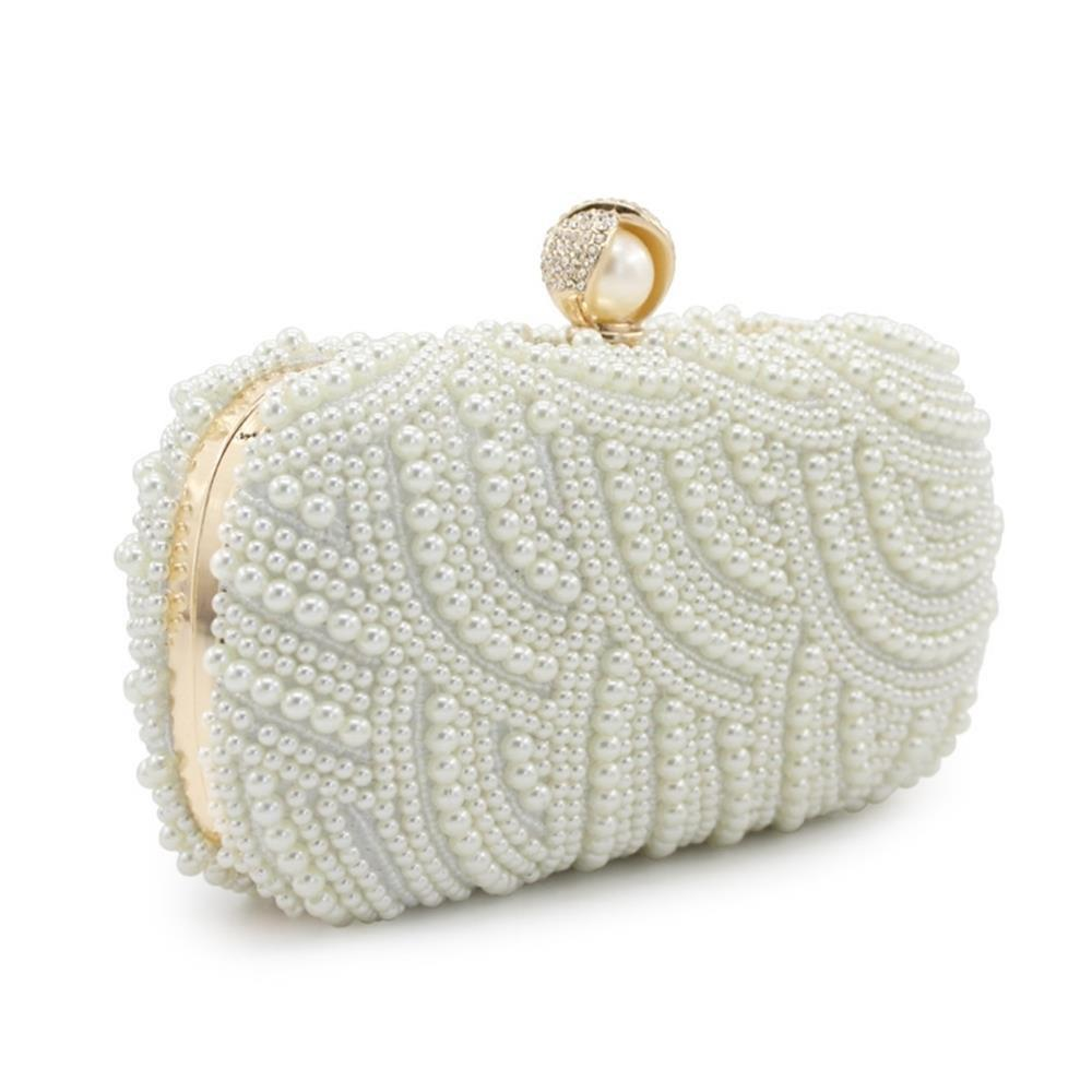 Handbags Clutches With Pearls For Wedding Special Occasion in More Colors - BEIGE