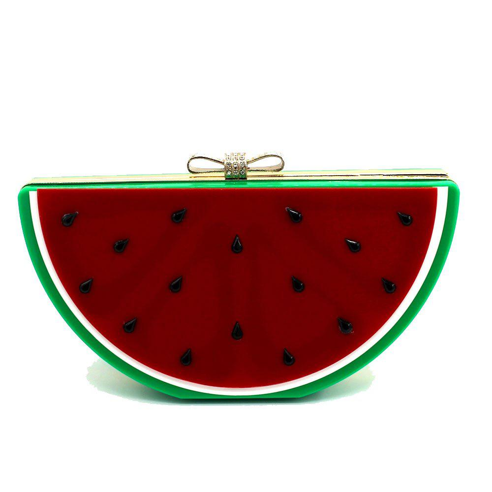 2016 Top Flap Linen Day Clutches Single Chains Unisex Open Pocket Versatile New Cute Fruit Shape Hand Bag - RED