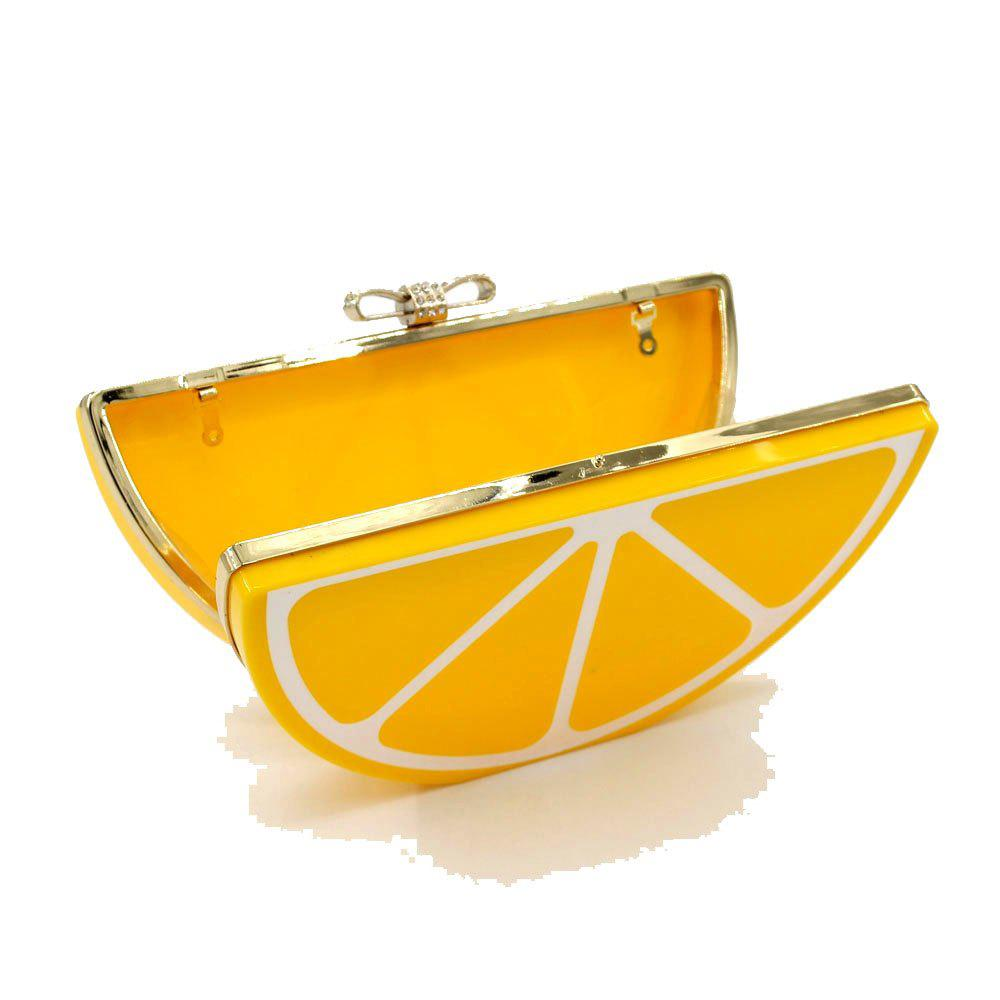 2016 Top Flap Linen Day Clutches Single Chains Unisex Open Pocket Versatile New Cute Fruit Shape Hand Bag - YELLOW