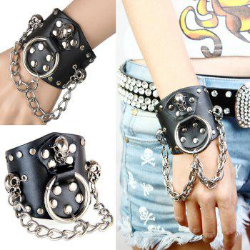Europe and The United States Trend of Non-Mainstream Exaggerated Atmospheric Rivets Leather Bracelet - BLACK