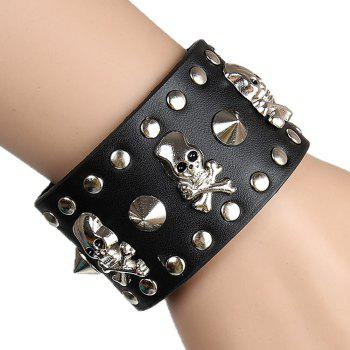 Europe and The United States Non-Mainstream Trend of Casual Rivet Leather Bracelet - BLACK
