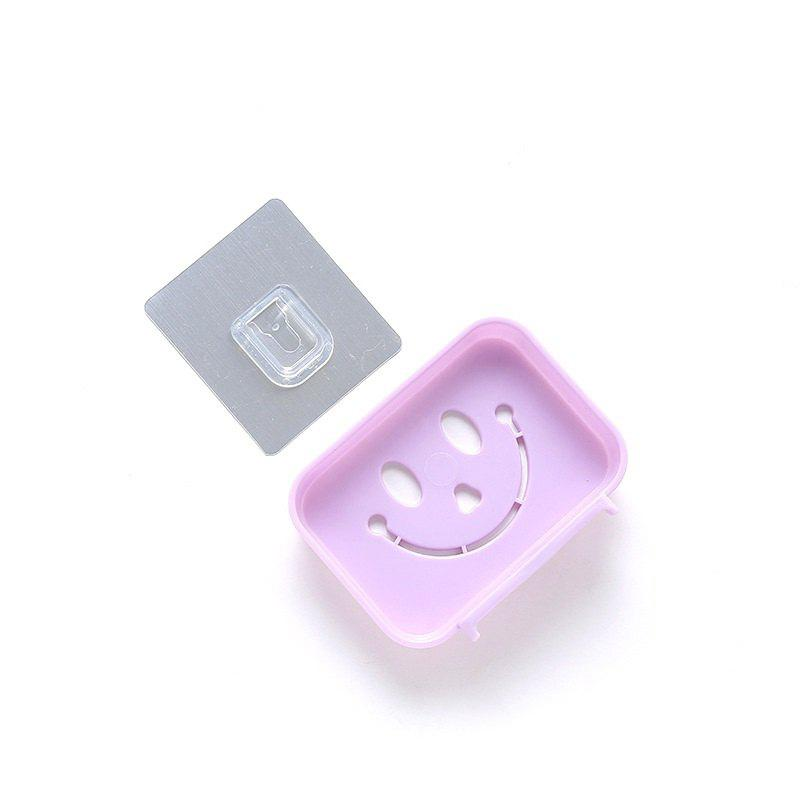 Seamless Pasting Wall-Mounted Hollow Smile Face Soap Box Dish Bathroom Pretty Top - PURPLE
