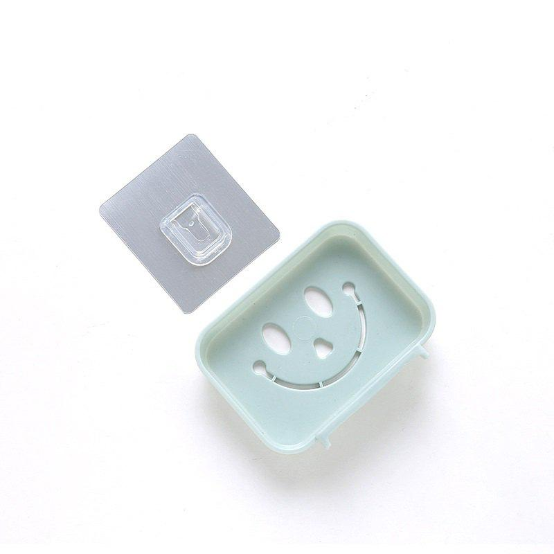 Seamless Pasting Wall-Mounted Hollow Smile Face Soap Box Dish Bathroom Pretty Top - BLUE