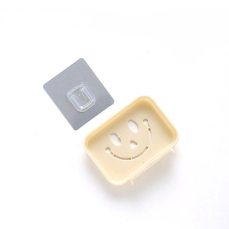 Seamless Pasting Wall-Mounted Hollow Smile Face Soap Box Dish Bathroom Pretty Top - BEIGE