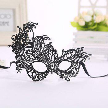Masquerade Lace Catwoman Halloween Black Cutout Phoenix Hollow Veil Prom Party Mask Accessories Lady Sexy Dance Mas - BLACK BLACK