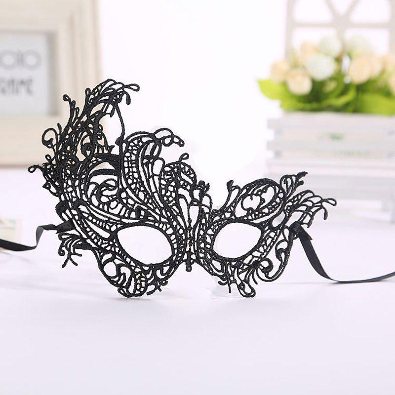 Masquerade Lace Catwoman Halloween Black Cutout Phoenix Hollow Veil Prom Party Mask Accessories Lady Sexy Dance Mas - BLACK